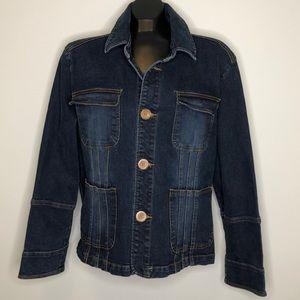 TULLE PLUS buttoned stretch blue Denim Jacket 2X